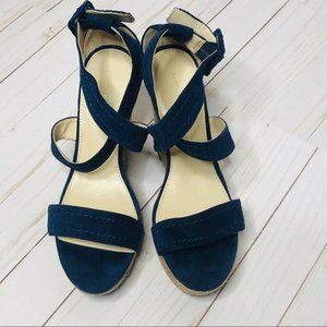 Marc Fisher | Blue Suede Wedge Espadrilles